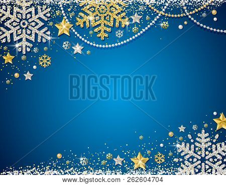 Blue Christmas Background With Frame Of Golden And Silver Glittering Snowflakes, Stars And Garlands,