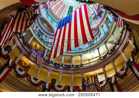 St. Louis, Mo, Usa - July 9, 2018 - Replica Of The Garrison Flag Adorned With 33 Stars Hanging In Th