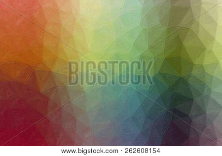 Abstract Illustration Of Green, Blue, Yellow And Red Contrast Oil Painting Background
