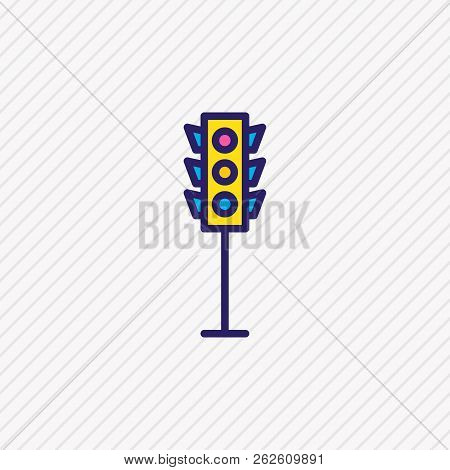 Vector Illustration Of Traffic Light Icon Colored Line. Beautiful Infrastructure Element Also Can Be