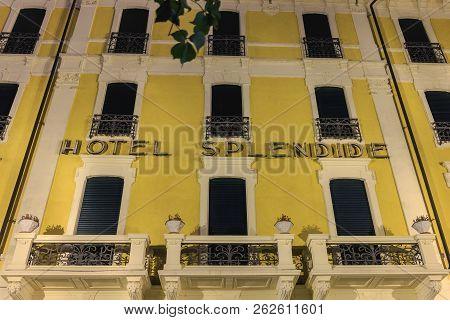 Bellagio Near Milan, Italy - 4 November 2017: View Of The Façade Of The Hotel Splendide Near Lake Co