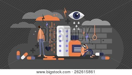 Depression concept flat vector illustration, mental health problems, medical antidepressants usage, human psychology issues, suicidal thoughts and low point of the life. Inner frustration and anxiety poster