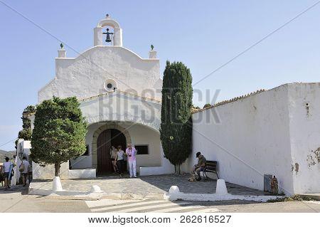 Quadaques, Spain - September 6, 2018: Small Chapel Of San Baldiri On The Heights Of Cadaques Not Far