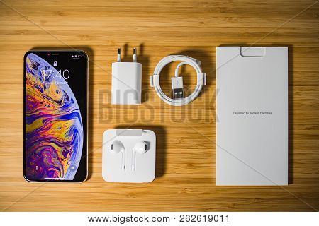 Paris, France - Oct 2, 2018: View From Above Of The New Apple Iphone Xs Max With All Its Box Accesso