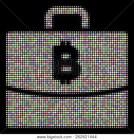 Bitcoin Accounting Case Collage Of Round Dots In Light Color Tinges On A Black Background. Vector Ro