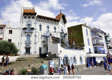 Quadaques, Spain - September 6, 2018: Architecture Of A Hotel By The Sea In Cadaques Spanish Village