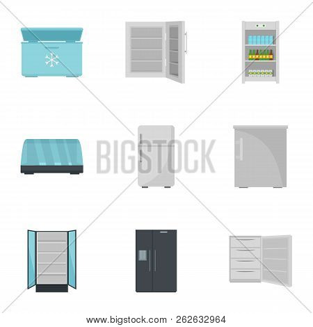 Commercial Fridge Icon Set. Flat Set Of 9 Commercial Fridge Vector Icons For Web Design
