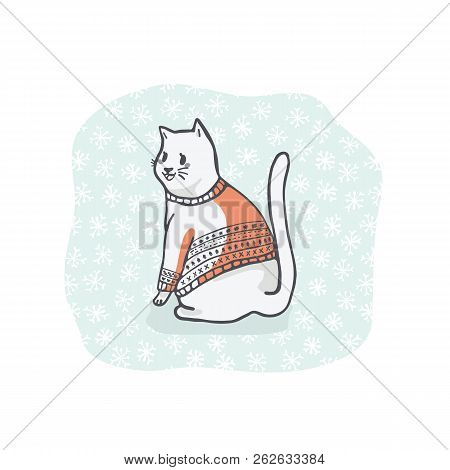 Christmas Cat Greetings Card Clipart, Hand Drawn Cat Lover In Embroidery