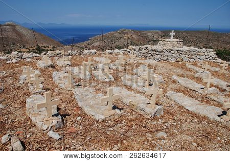The old cemetery at the abandoned village of Mikro Chorio on the Greek island of Tilos.