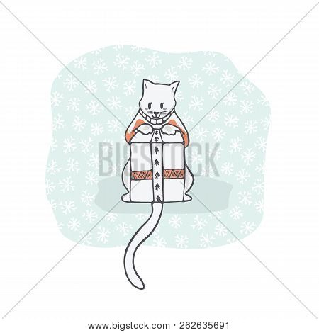 Christmas Kitten Embroidery Jumper And Present Box Clipart, Hand Drawn