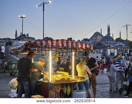 Istanbul, Turkey - July 7, 2018. Corn Cobs Stall In A Street Of Eminonu, A Former District Of Istanb