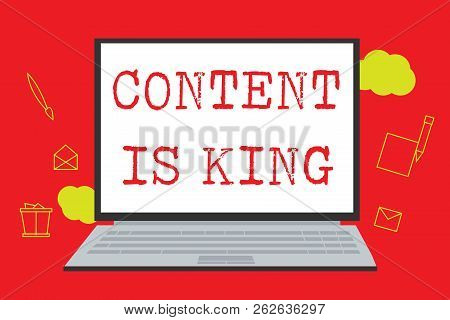 Text Sign Showing Content Is King. Conceptual Photo Content Is The Heart Of Today S Marketing Strate