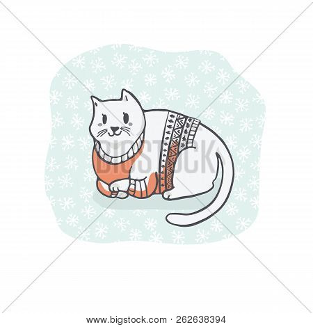 Fat Christmas Cat In Embroidery Sweater Clipart, Hand Drawn Cat Lover