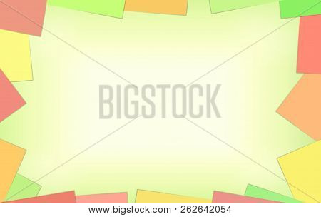 Empty Place Background With Yellow Paper And Frame With Blank Color Yellow Green Red Note Paper Corn
