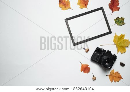 Vintage Retro Camera And Wooden Photo Frame With Autumn Fall Leaves. Flay Lay, Top View. Copy Space