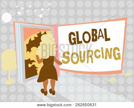 Writing Note Showing Global Sourcing. Business Photo Showcasing Practice Of Sourcing From The Global