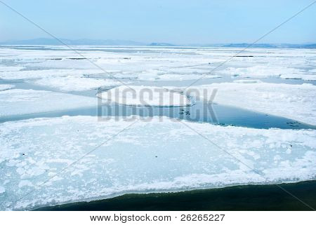 breaking spring ice floe
