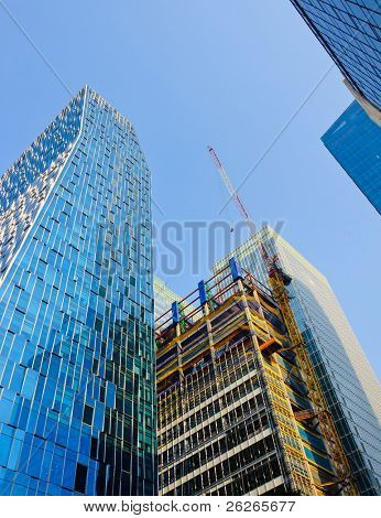 Construction of Skyscrapers in Financial District Downtown Seoul Korea