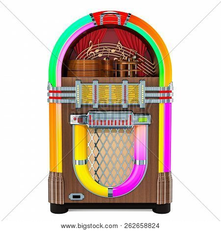 Vintage Jukebox Front View, 3d Rendering Isolated On White Background