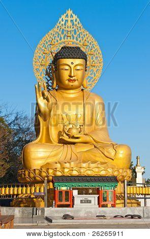 Golden Buddha statue at buddhist temple of Sanbanggulsa at Sanbangsan of Jeju island Korea