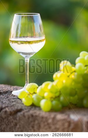 White Wine And Grapes, Close-up, Vertical Photo. Italy