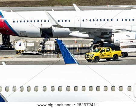 Guarulhos, Sao Paulo, Brazil, August 14, 2018. Baggage Loading On An Aircraft At Andre Franco Montor