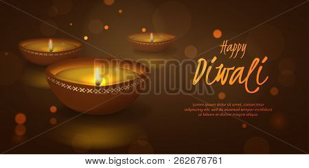 Vector Festive Horizontal Illustration For Indian Hindu Holiday Deepavali With 3d Realistic Oil Lamp