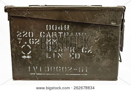 Old Close Munition Box Isolated On A White Background