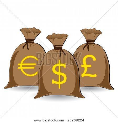 three full money sacks
