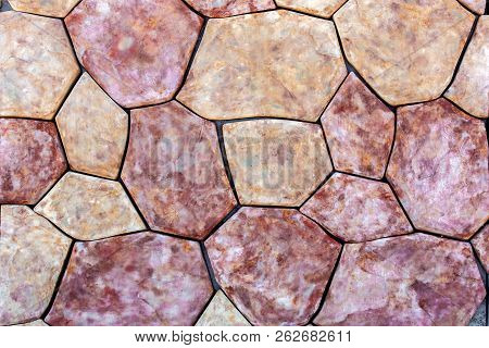 Sidewalk Stone, Texture Of A Decorative Stone For Paving Of Sidewalks And Roads. Stone Many-sided Ye