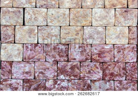 Sidewalk Stone, Texture Of A Decorative Stone For Paving Of Sidewalks And Roads. Stone Square Yellow