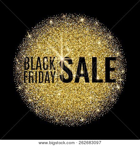 Black Friday Sale Banner. Black Friday Sale Poster With Gold Round Shape On Dark Background. Shop No