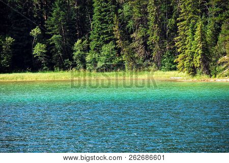 Natural Beauty On Display In This Scene Of A Turquoise Lake Contrasting With A Deep Green Forest Of