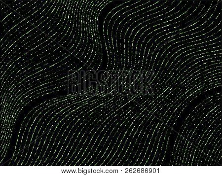 Curve Lines Of Multiple Circle Dots Scatter On Black. Luxury Vector Background With Shiny Stardust G