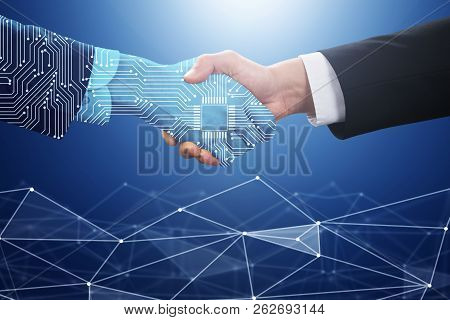 Businessperson Shaking Hand With Digital Partner Over Futuristic Background