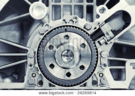 toned shot of a gear in a motor