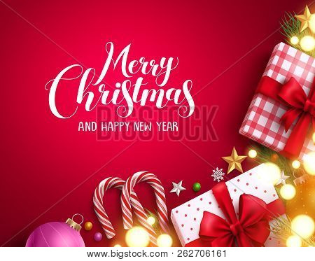 Christmas Vector Background Banner With Bright Blurred Lights, Merry Christmas Greeting Text And Col