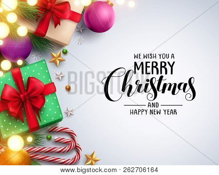 Christmas Background Vector Design With Merry Christmas Text In Empty White Space And Colorful Eleme