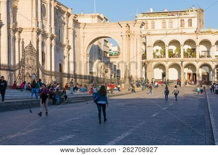 Arequipa Peru August 20, 2018 On Either Side Of The Cathedral Of Arequipa Are Two Imposing Arches. T