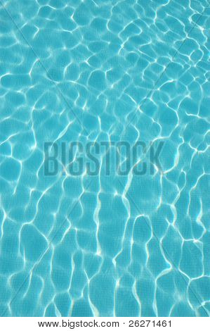 Blue water wave pattern of a swimming pool (horizontal) poster