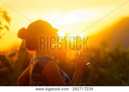 Beautiful Young Woman With A Glass Of Wine In The Vineyard