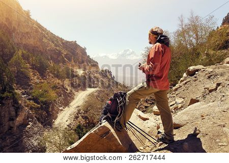 Hiker Man Healthy Outdoor Lifestyle Eating During Hike On The Mountain Pass In The Upper Mustang In