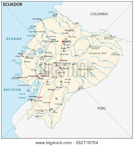 The republic of Ecuador road vector map. poster