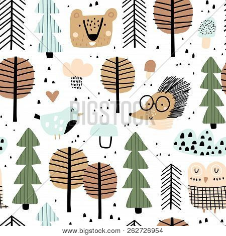 Seamless Woodland Pattern With Cute Animals And Trees. Vector Illustration. Scandinavian Style. Crea