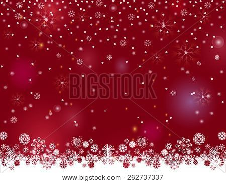 Falling Snow Magic Border On A Dark Wine Background. Abstract Winter Night Lights Blurry Background