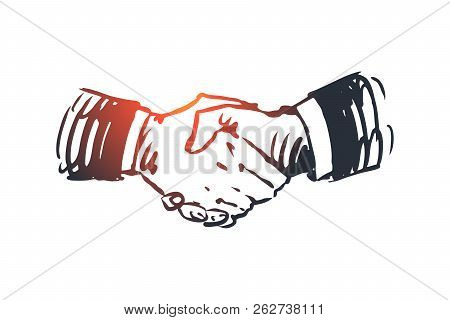 Commitment, Hand, Deal, Business, Partnership Concept. Hand Drawn Hand Shaking Concept Sketch. Isola