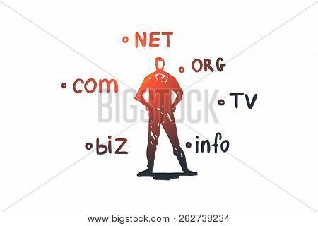 Domain, Internet, Name, Web, Hosting Concept. Hand Drawn Domain Names And Technology Specialist Conc