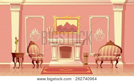 Vector Cartoon Illustration Of Luxury Living Room With Fireplace, Ballroom Or Hallway With Pilasters