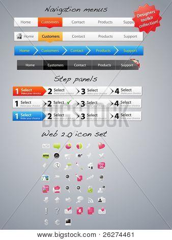 Navigation menus, step panels and icons