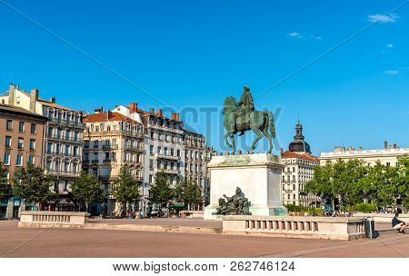Equestrian Statue Of Louis Xiv On Bellecour Square In Lyon - Auvergne-rhone-alpes, France